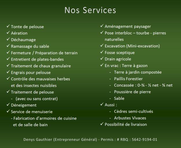 Nos Servives - Les Entreprises D. Gauthier